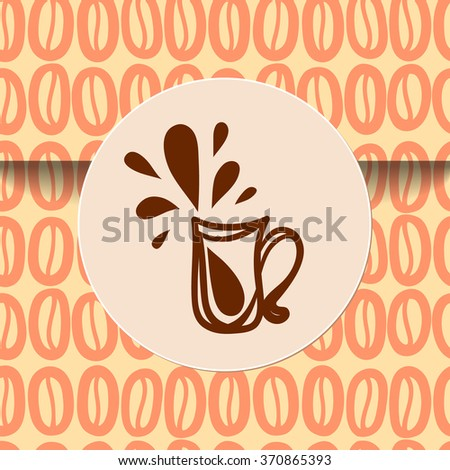 Coffee cup sticker sign on seamless wrapping. There is the tile in Swatch panel. - stock vector