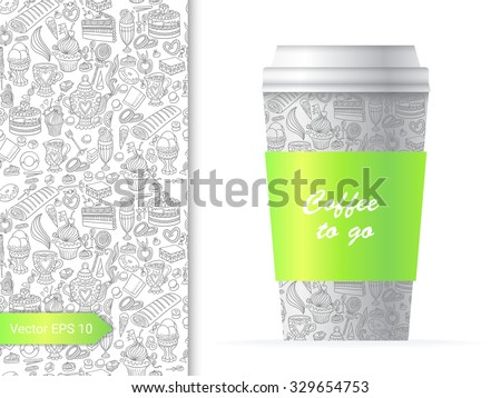 Coffee cup template illustration with the sweet and fun party pattern design which includes sweets and desserts.  - stock vector