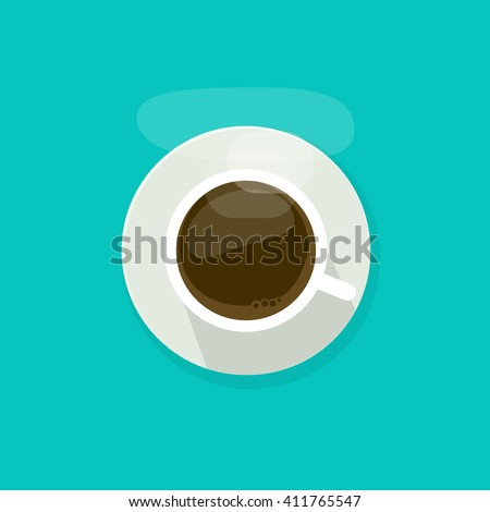 Coffee cup top view isolated on blue background, coffee cup vector illustration, glass coffee cup icon, coffee mug white, coffee cup flat - stock vector