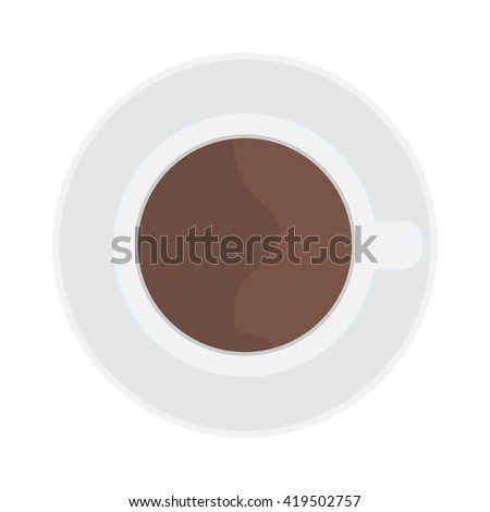 Coffee cup top view isolated on white. Cup coffee top view vector and cup hot coffee top view. Cup coffee top view hot drink espresso and brown cup coffee top view cappuccino, black mocha color mug. - stock vector