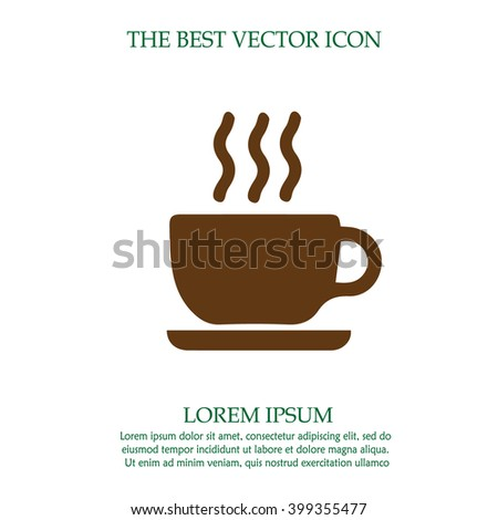 Coffee cup vector icon. Simple isolated silhouette sign symbol. Hot chocolate. - stock vector