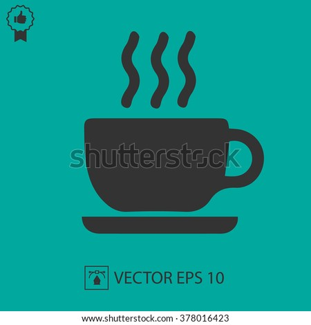 Coffee cup vector icon. Simple vector silhouette EPS 10. - stock vector