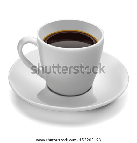 Coffee cup vector illustration on a white background. Side view. - stock vector
