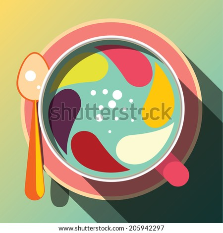 Coffee cup with colorful mixture twirl, Funny concept. - stock vector