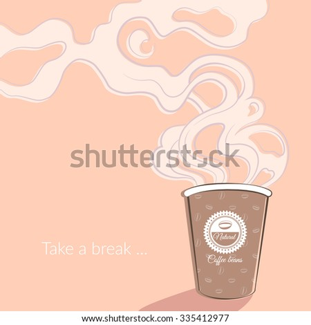 Coffee cup with wonderful aroma. Vector illustration. EPS 10 - stock vector