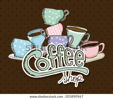 coffee design over brown background vector illustration - stock vector
