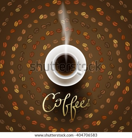 Coffee design with cup of hot coffee and beans lines circled texture. Coffee banner for packaging, wrapping paper, design for coffee shop menu, restaurant and cafeteria. Brown gold vector background. - stock vector