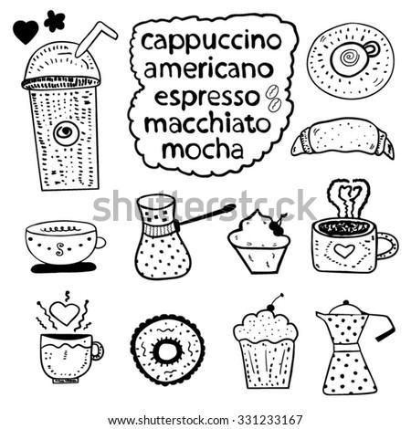 Coffee Doodles design set - stock vector