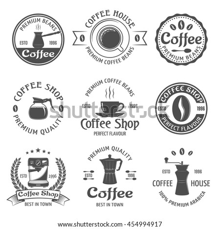 Coffee emblem set with premium beams coffee house and coffee shop descriptions vector illustration - stock vector