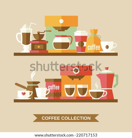 Coffee flat collection drink decorative icons on shelves vector illustration - stock vector