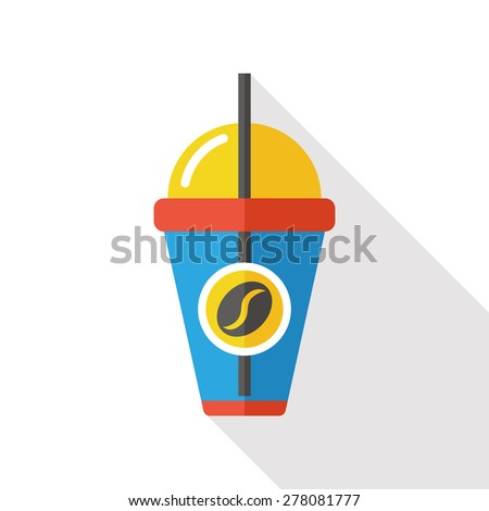 coffee flat icon with long shadow - stock vector