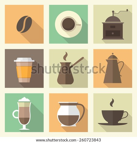 coffee flat icons set - stock vector