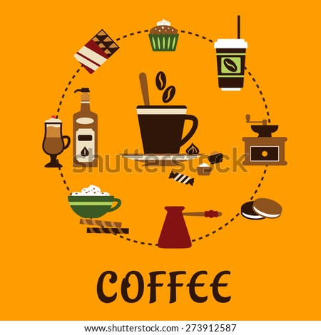 Coffee flat infographic icons showing cup of coffee on saucer with coffee beans and candies with ice cream, cakes, cappuccino, liquor, takeaway cup, chocolate, vintage coffee grinder and copper pot  - stock vector