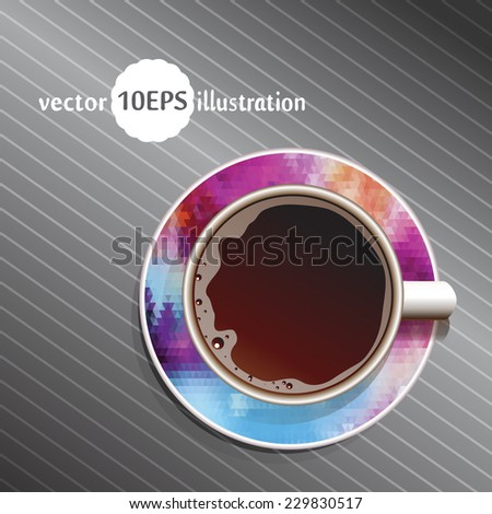 Coffee. Good Morning. Realistic white cup of coffee. Ã?Â??offee with textured background. Vector illustration 10 EPS - stock vector