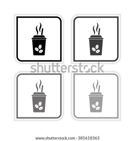 coffee  - grayscale vector icon - stock vector