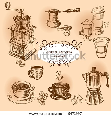 Coffee hand drawn elements. Set of drawings for design - stock vector