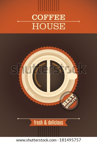Coffee house retro poster. Vector illustration. - stock vector