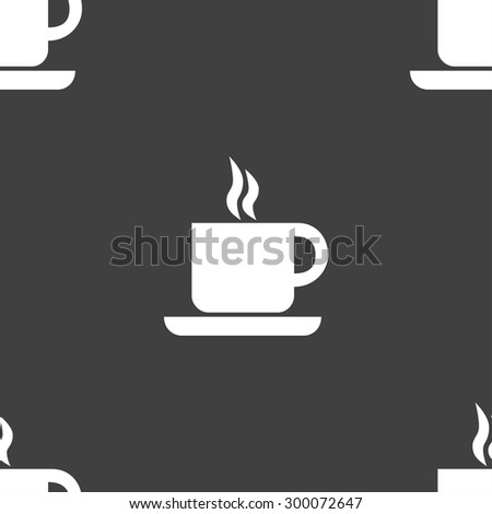 coffee icon sign. Seamless pattern on a gray background. Vector illustration - stock vector