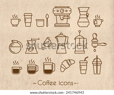 Coffee icons execution lines in minimalistic style symbol coffee cup, coffee, french press, plastic cups on the background craft - stock vector