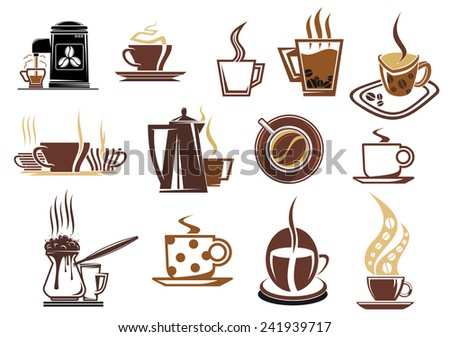 Coffee icons for cafe and restaurant menu with varied cups of coffee, espresso, cappuccino, coffee beans, pot and coffee machine in brown and beige colors - stock vector