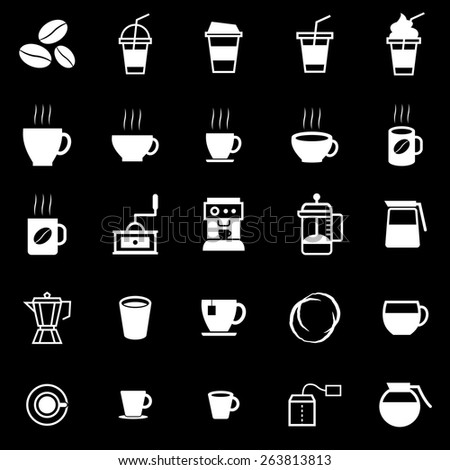 Coffee icons on black background, stock vector - stock vector