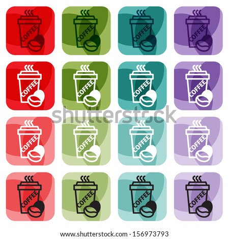 Coffee icons or coffee label vector set - stock vector