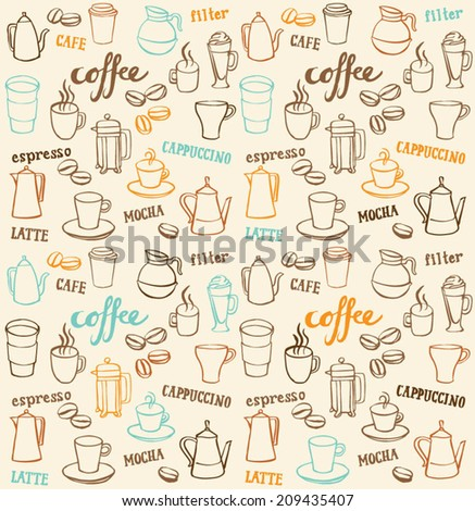 Coffee icons seamless pattern - stock vector