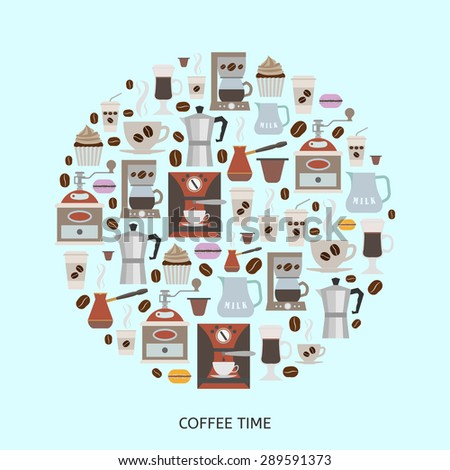 Coffee icons set in minimalistic style. Flat coffee icons. Vector illustration EPS 10. - stock vector