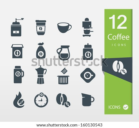 Coffee icons ( Set of 12 in minimal style ) - stock vector
