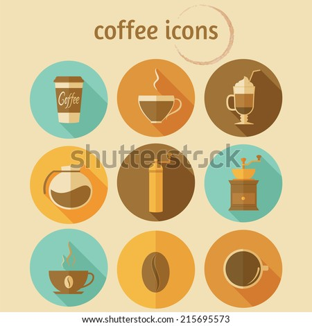 Coffee icons with long shadow. Vector set, flat design, EPS 10. - stock vector