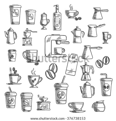 Coffee icons with takeaway cups, beans and coffee pots, coffee grinder, cappuccino and espresso, percolator and coffee machine - stock vector