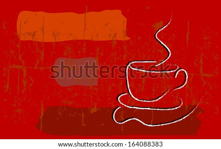 coffee illustration, free copy space - stock vector