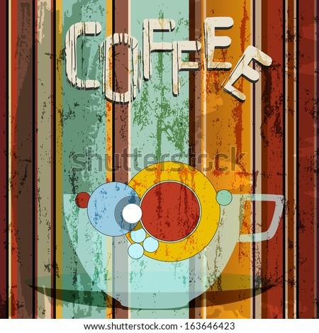 coffee illustration, menu / advertising design, free copy space - stock vector