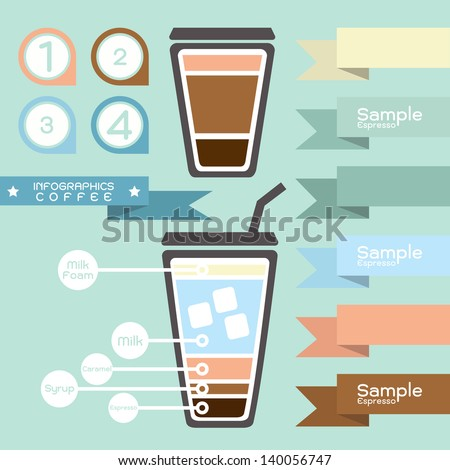 coffee infographics and tag - label design, vector - stock vector