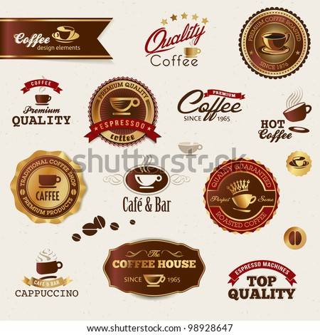 Coffee labels and elements - stock vector
