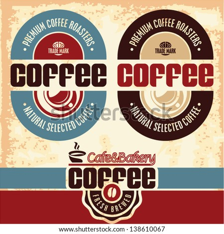 Coffee labels. Cafe. Cafeteria. Retro Style Coffee Labels Collection. - stock vector