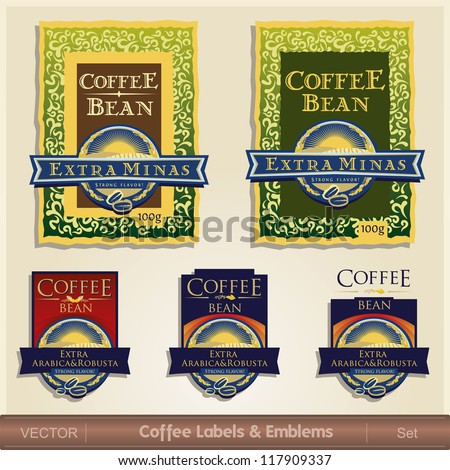 Coffee Labels & Emblems Sets - stock vector
