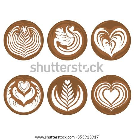 Coffee Latte Art Set - stock vector