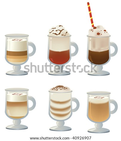 coffee latte in tall glass - stock vector