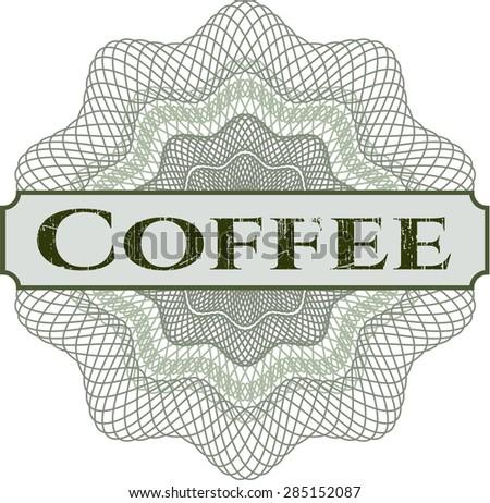 Coffee linear rosette  - stock vector