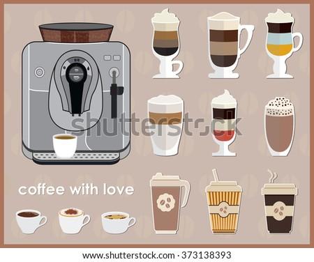 Coffee machine and equipment. Coffee Icon Set. Vector illustration - stock vector