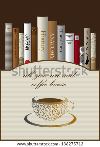 Coffee menu card design template with books. Vector illustration. - stock vector