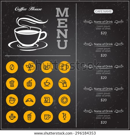 Coffee menu on a black background. Board coffee menu for restaurant with yellow icons. - stock vector