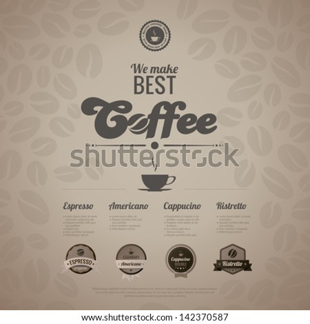 Coffee menu poster vector design template in retro style. Vintage labels included.  Trendy. Editable. - stock vector