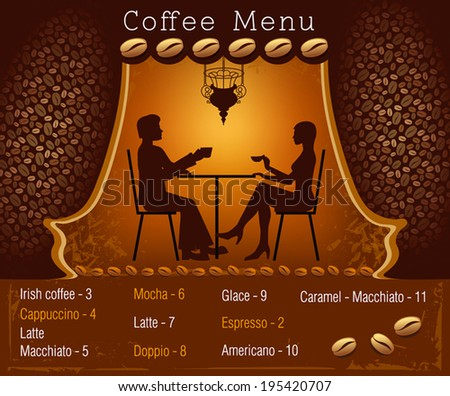 Coffee menu. Silhouette of the couple in the cafe - stock vector