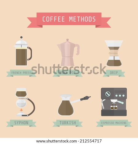 coffee methods, pastel style - stock vector