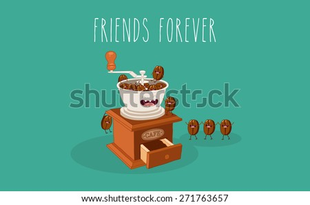 Coffee mill and coffee bean. Vector cartoon. Friends forever. Comic characters. - stock vector