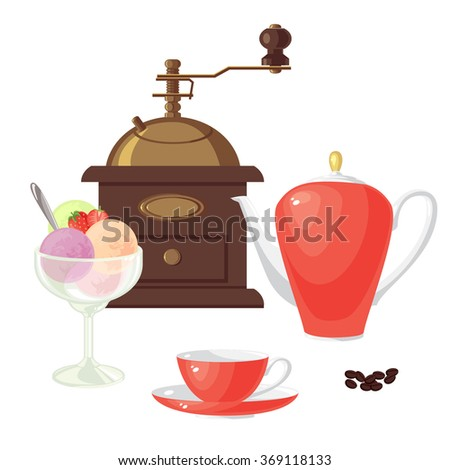 Coffee mill, coffee, sugar, teapot and cup. Balls of ice cream with strawberry and strawberry slice in glass cup. - stock vector