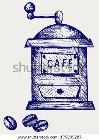 Coffee mill. Doodle style - stock vector