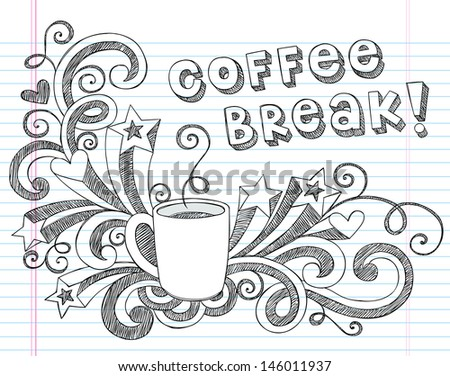Coffee Mug Back to School Sketchy Notebook Doodles with Lettering, Shooting Stars, and Coffee Tea Cup- Hand-Drawn Illustration Design Elements on Lined Sketchbook Paper Background - stock vector